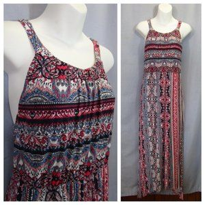 Soma Maxi Dress Knit Handkerchief Hem Bandana Sz L